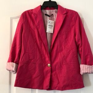 Zara women hot pink blazer size M